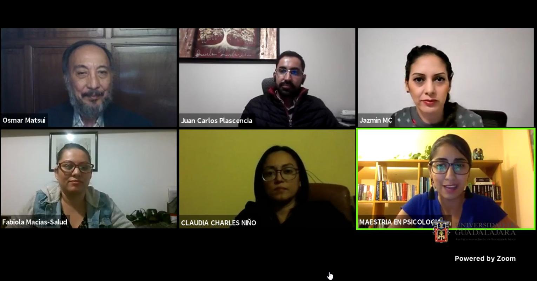 Captura de pantalla con cada uno de los ponentes participantes