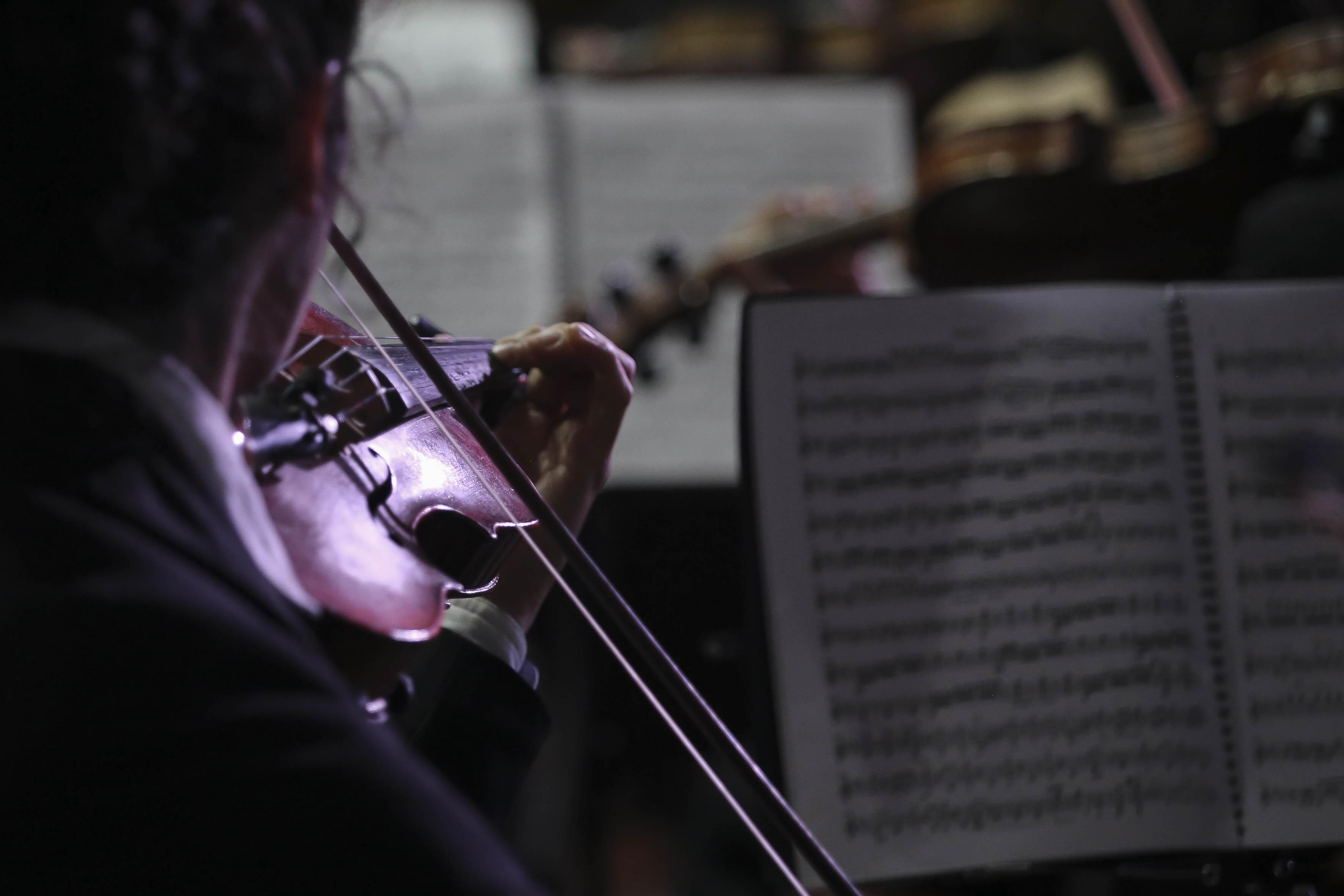 Violín en primer plano con perfil de la violinista tocando
