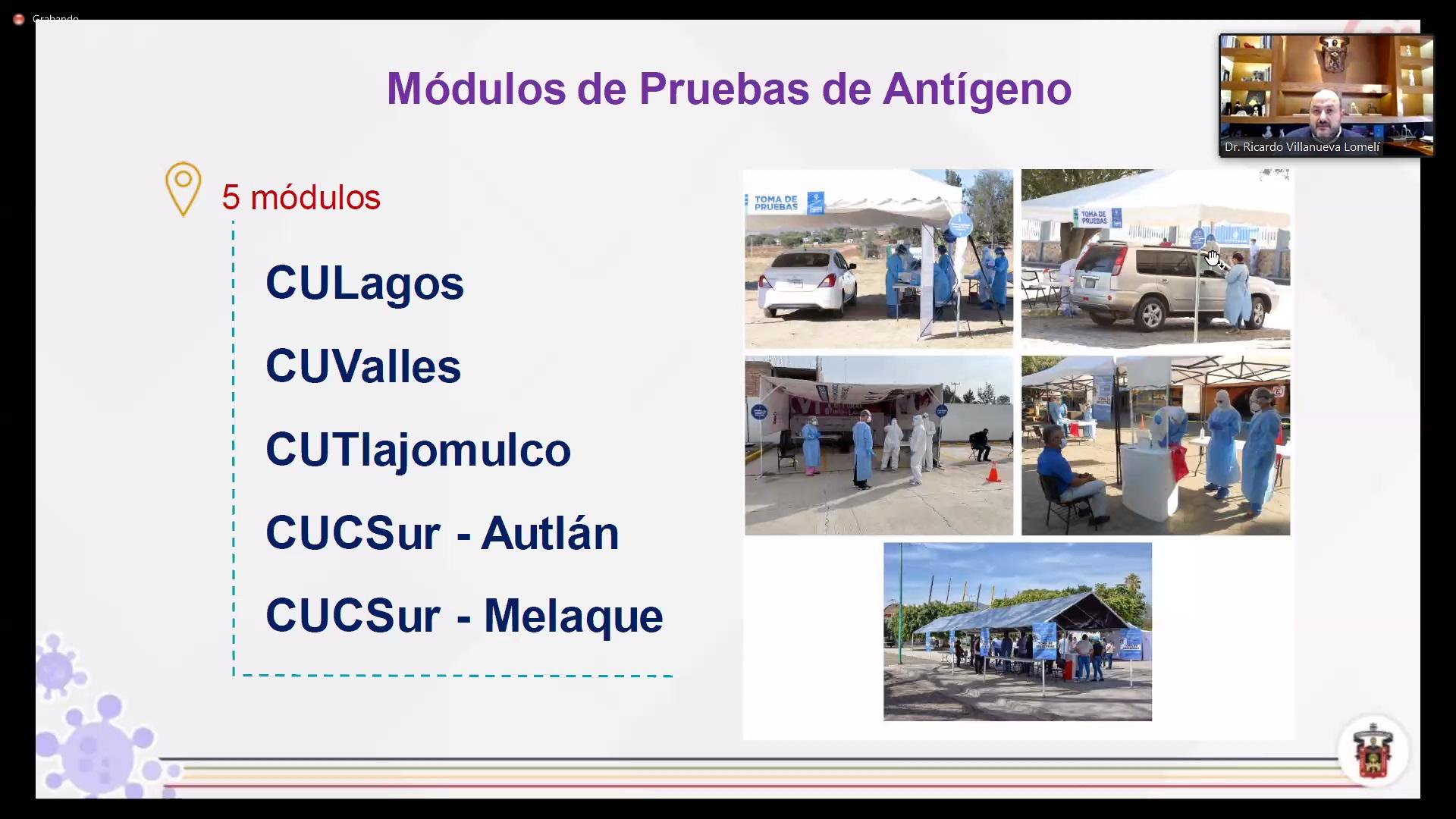 Diapositiva usada durante la conferencia. Módulos de detección en Jalisco
