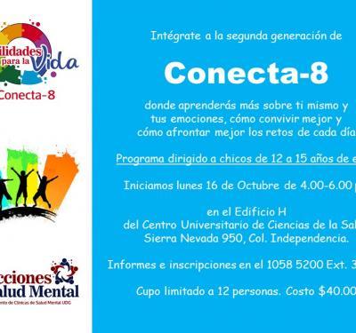 Cartel promocional Conecta-8 para adolescentes