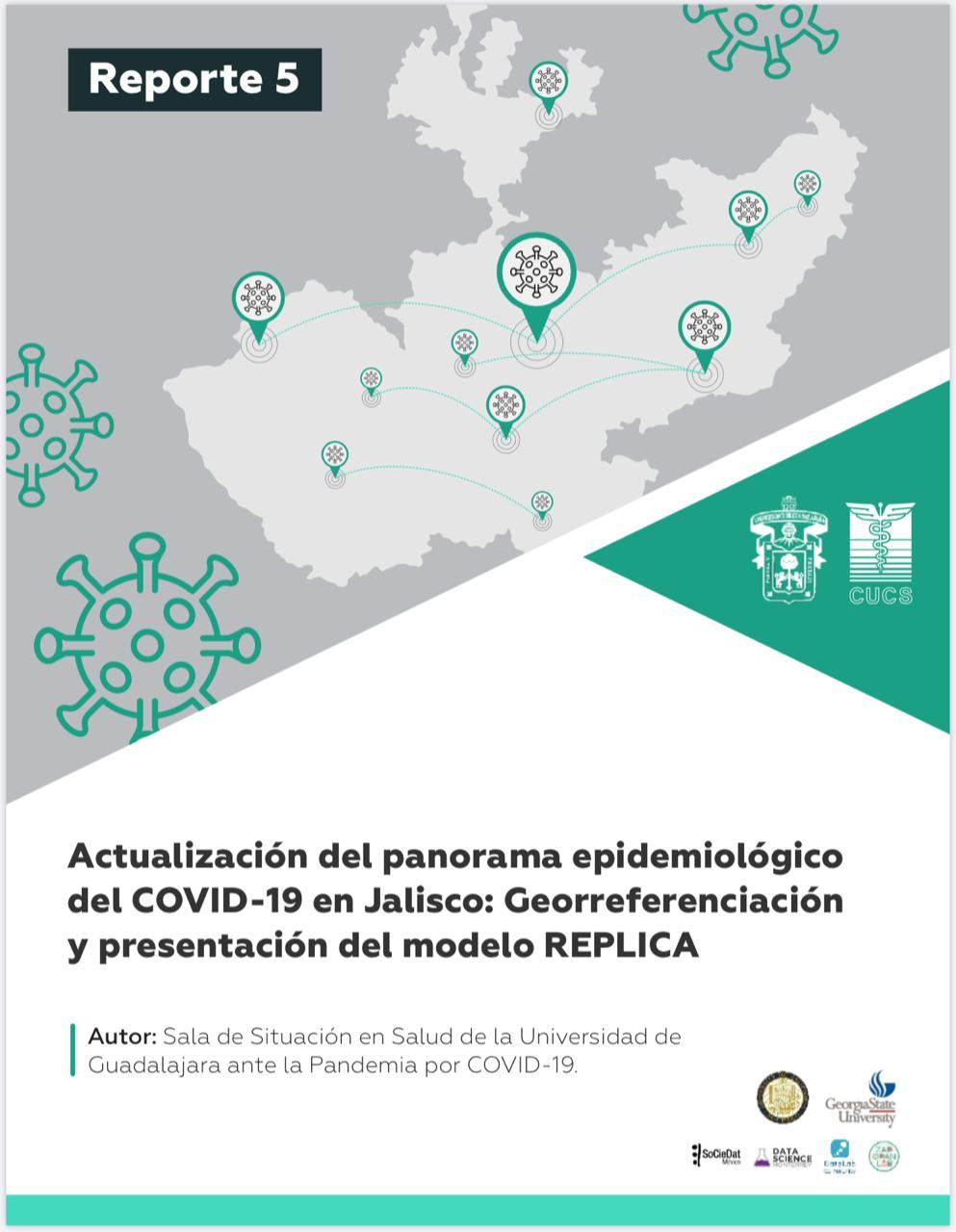 Portada del reporte 5 Actualización del panorama epidemiológico del COVID-19 en Jalisco